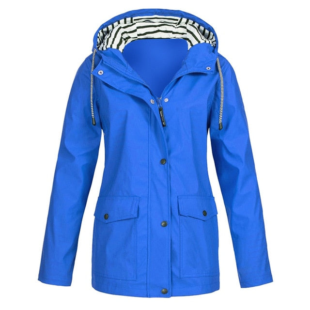 JODIMITTY 2020 Women Solid Color Waterproof Jacket Ladies Hooded Classic Softshell Raincoat Outdoors Coat Windbreaker Outwear