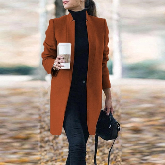 2020 New Women Wool Coat Autumn Winter Fashion Long Sleeve Stand Neck Jackets Plus Size S-5XL Solid Vintage Female Overcoats
