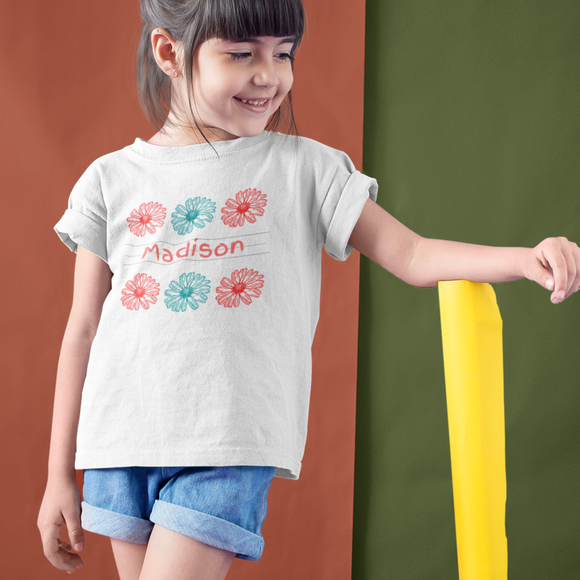 Personalized First Day Of School Shirt, Personalized Daisy Shirt, Modern Flower Personalized Children's Shirt