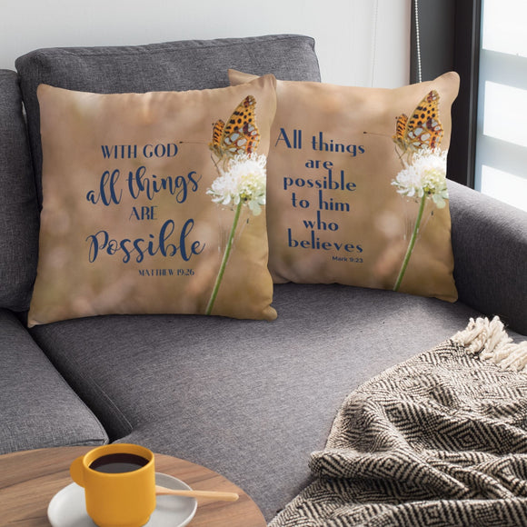 All Things Are Possible Faux Suede Pillow, Believer Pillow, Christian Throw Pillow, Bible Verse Pillow