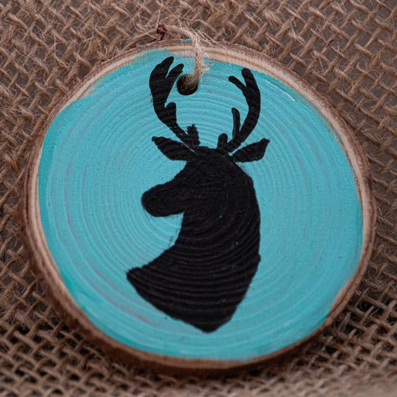 Ornament Black Stag on Turquoise Background-Santa Anna's Christmas Shop, Stag Head, deer Silhuette, Turquoise and black
