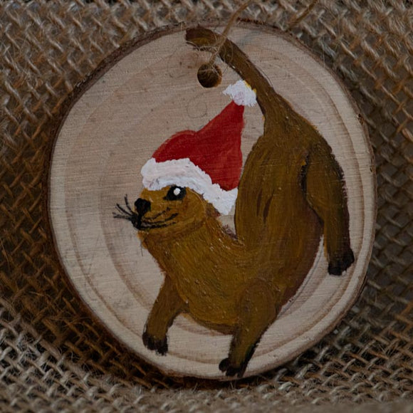 Ornament Otter Holiday-Santa Anna's Christmas Shop, otters, Christmas, handcrafted