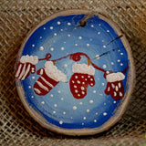 Ornament Mittens-Santa Anna's Christmas Shop, winter mittens, red and blue ornament