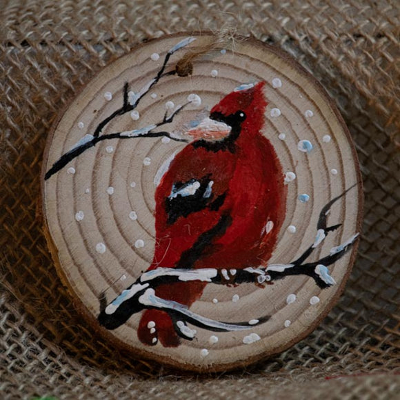 Ornament Cardinal-Santa Anna's Christmas Shop, winter scene, wood ornament, handcrafted