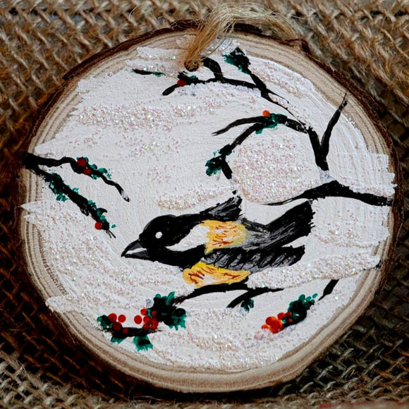 Ornament Chickadee in the snow-Santa Anna's Christmas Shop