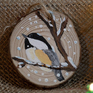 Ornament Chickadee-Santa Anna's Christmas Shop, winter birds, winter scene, Christmas,