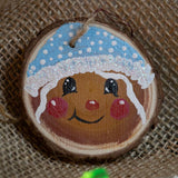 Ornament Gingerbread Girl with Blue Cap-Santa Anna's Christmas Shop, gingerbread girl blue