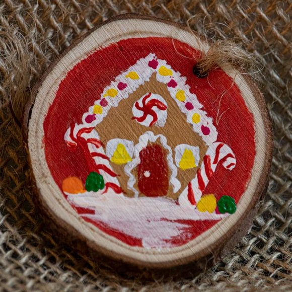 Ornament Gingerbread House with Red/Yellow-Santa Anna's Christmas Shop