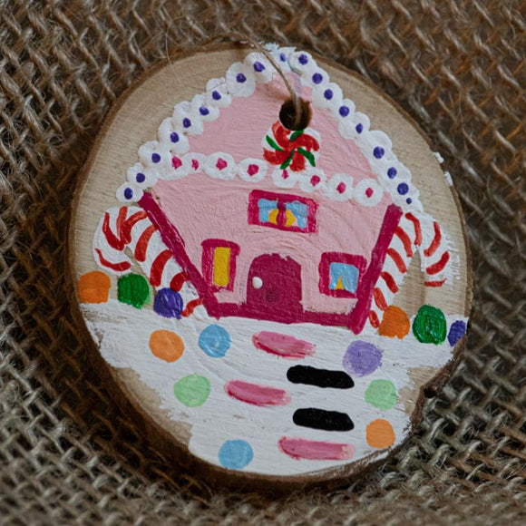 Ornament Pink Gingerbread House-Santa Anna's Christmas Shop, gingerbread house, candy house