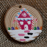 Ornament Gingerbread House with Cotton Candy Roof-Santa Anna's Christmas Shop