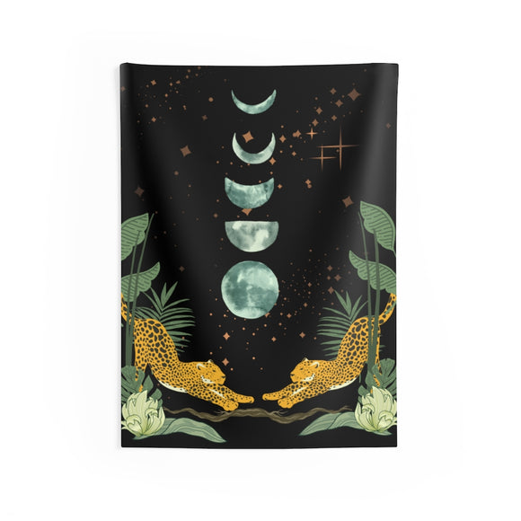 Cheetahs Under The Moon Wall Tapestry