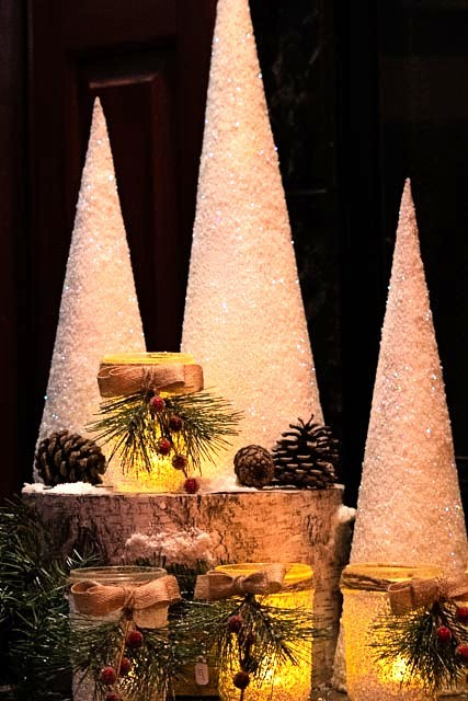 Sparkling Cone Tree Trio-Santa Anna's Christmas Shop, Glitter Cone trees,mason jar candle holders, Bling, Glitz, Christmas decor, winter decor