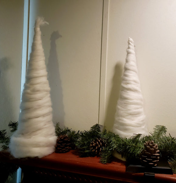 Rustic Wool Cone Tree Set 2 trees-Santa Anna's Christmas Shop, rover wood cone tree, rustic decor, country decor