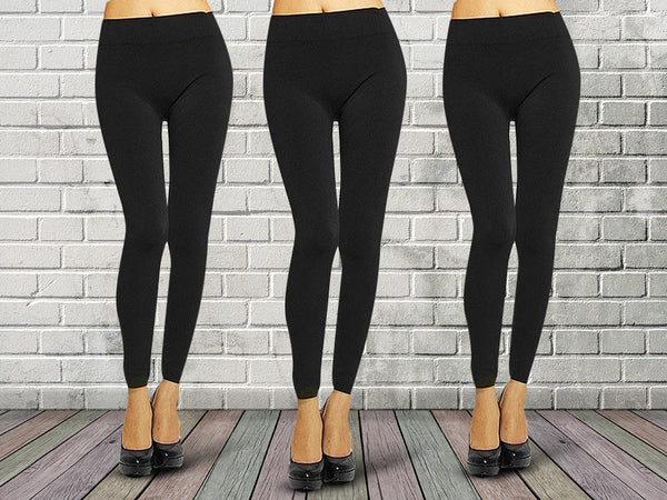 3 Pairs: Warm Double-Brushed Seamless Fleece Leggings