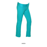 Soft Cotton-Blend Yoga Pants with Fold-Over Waistband - Assorted Colors