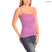 12-Pack: 100% Cotton Pre-Shrunk Premium Stretch Camisoles with Adjustable Straps - Assorted Colors