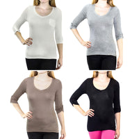 3-Pack: V-Neck Tops with Roll-Tab Sleeves & Chest Pocket