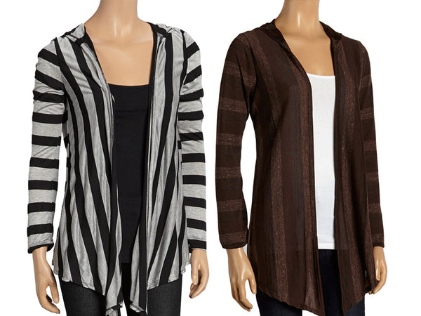 Lightweight Hacci-Knit Open-Front Striped Cardigan - Assorted Colors