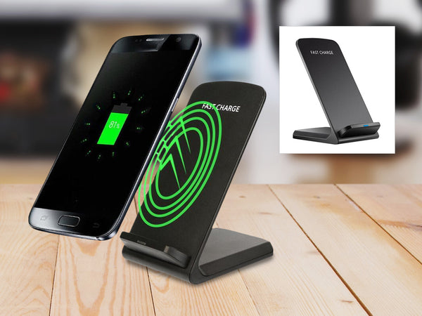 Fast Wireless Qi Charging Pad & Phone Holder - Assorted Colors