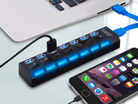 High-Speed 7-Port USB 2.0 Adapter & Charger - Assorted Colors