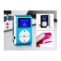 Clip-On Mini MP3 Music Player with Earbuds - Assorted Colors