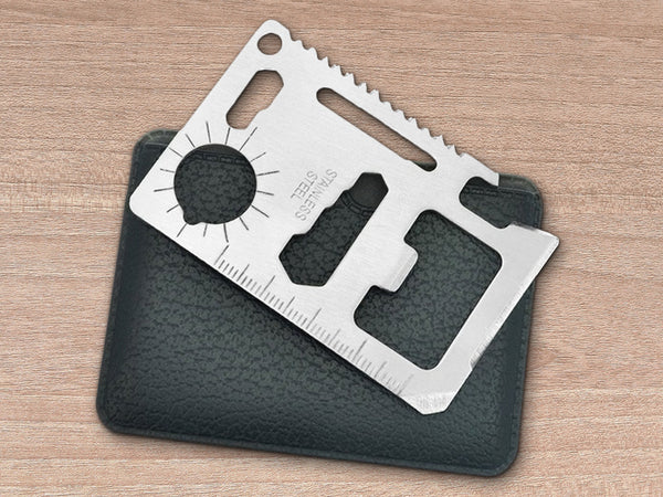 2-Pack: 11-in-1 Emergency Survival Stainless Steel Credit-Card-Size Tools with Sheaths