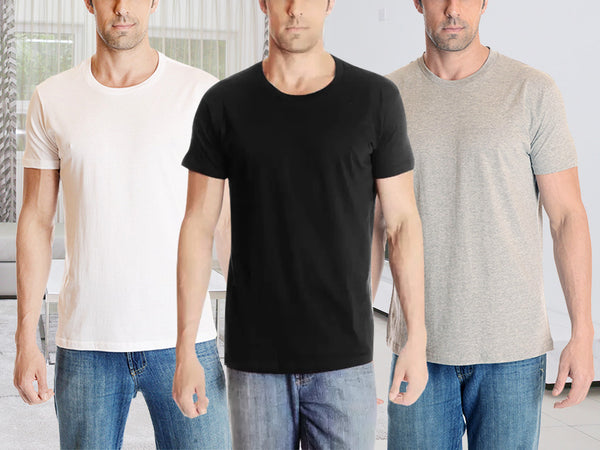 2-Pack: Sleep Comfort 100% Cotton Round-Neck Neutral T-Shirts - Assorted Colors & Extended Sizes