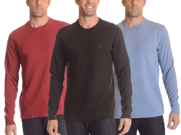 2-Pack: Cotton-Blend Waffle-Knit Long-Sleeve Shirts - Extended Sizes