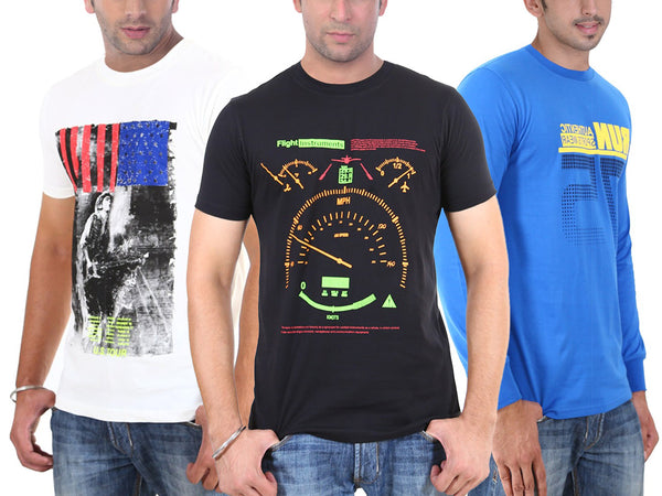 3-Pack: 100% Cotton Graphic Long- or Short-Sleeve T-Shirts - Extended Sizes