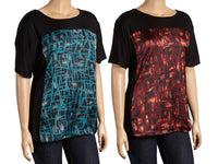 Belinda Short-Sleeve Top with Geometric-Print Panel - Assorted Colors