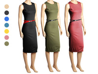 Sleeveless Below-the-Knee Dress with Skinny Belt - Assorted Colors