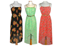Asymmetrical Floral Sundress with Goldtone Accents - Assorted Colors