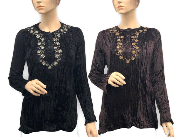 Long-Sleeve Quarter-Button Blouse with Brocade-Style Trim - Assorted Colors