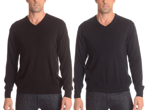 V-Neck Long-Sleeve Sweater with Ribbed Cuffs & Hem - Assorted Colors & Extended Sizes