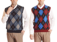 100% Cotton Argyle-Patterned V-Neck Sweater Vest - Assorted Colors & Extended Sizes
