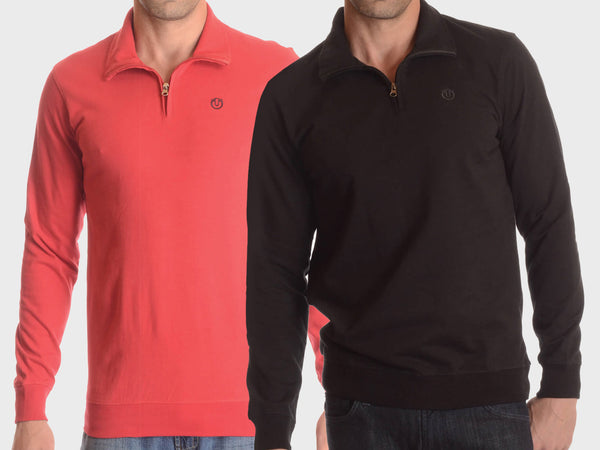 100% Cotton Quarter-Zip Pullover with Long Sleeves - Assorted Colors & Extended Sizes