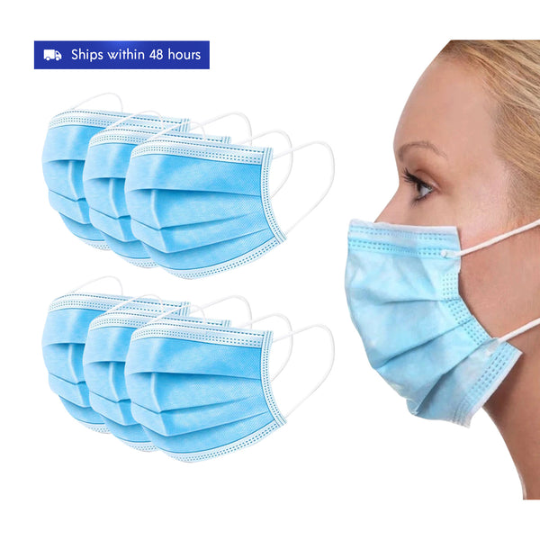 50 Pack: Premium 4-Ply Disposable One-Time Use Face Masks with Nose Bridge Wires