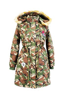 Camouflage Print Long Winter Coat with Removable Hood - Assorted Colors & Extended Sizes