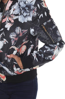 Sporty-Chic Floral Bomber Jacket - Assorted Colors