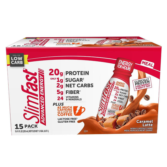 SlimFast Advanced Energy Caramel Latte High Protein Ready to Drink Meal...