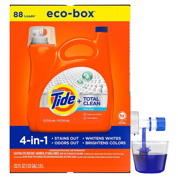 Tide Total Clean Liquid Laundry Detergent Eco-Box, HE Compatible, Fresh...