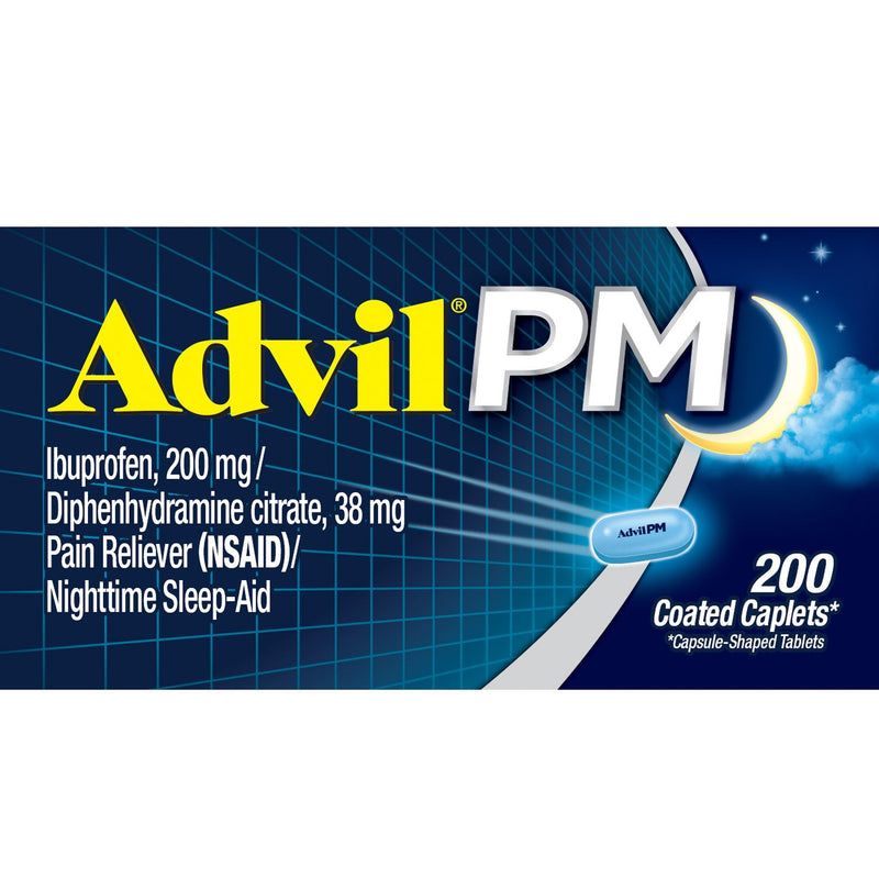 Advil PM Pain Reliever / Nighttime Sleep Aid Caplet, 200mg Ibuprofen and 38mg Diphenhydramine (200 ct.)