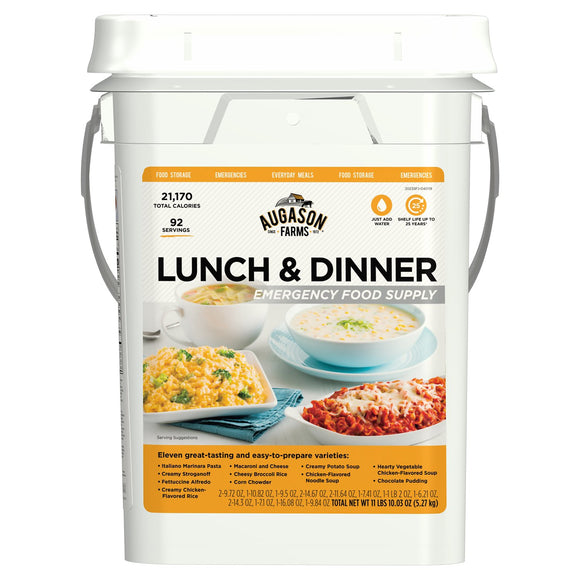 All DepartmentsGroceryEmergency Foods and SuppliesEmergency Food KitsAugason Farms Lunch and Dinner Variety Emergency Food Supply 4-Gallon Pail by Augason Farms | Item # 165057 | Model # 5-20235 |