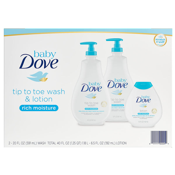 Baby Dove Wash and Lotion (2 - 20 fl. oz. and 1 - 6.5 fl. oz.)