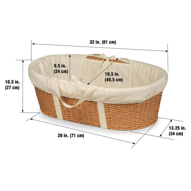 Badger Basket Wicker-Look Woven Baby Moses Basket with Bedding (Choose Your Color)