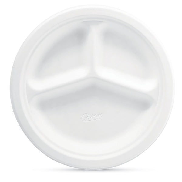 "Chinet Classic White 10-3/8"" Dinner Compartment Plates (165 ct.)"
