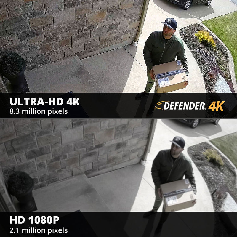Defender Ultra HD 4K (8MP) 2TB Wired Indoor/Outdoor Security Camera System with 6 Night Vision Cameras