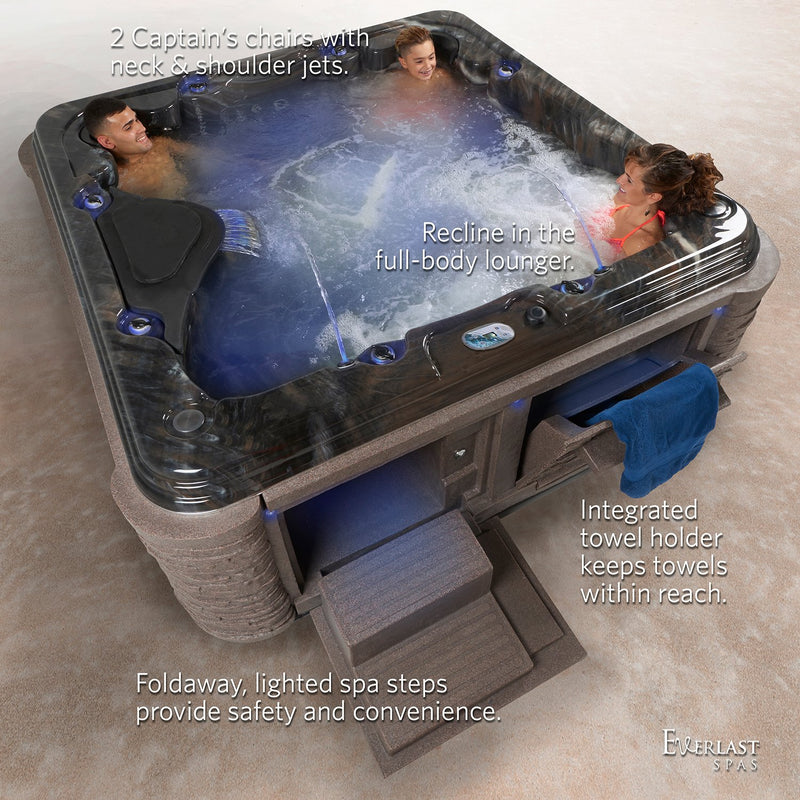 Everlast Spas Grand Estate 90-Jet Acrylic Spa, Midnight Canyon