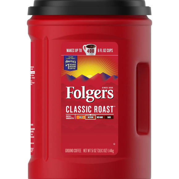 Folgers Classic Roast Ground Coffee (51 Oz.)