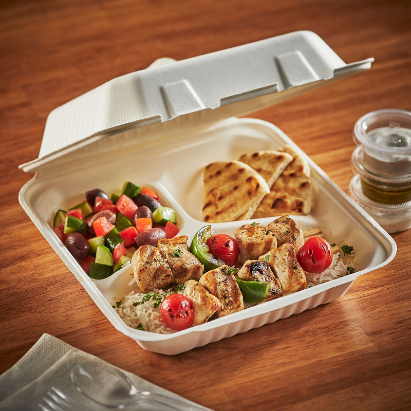 "Hefty ECOSAVE 3-Compartment Hinged Lid Container (9"" x 9"", 50 ct.)"